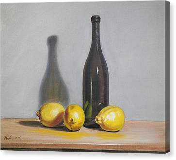 Still Life With Brown Bottle And Lemons Canvas Print
