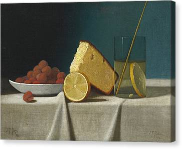 Still Life With Cake - Lemon Strawberries And Glass Canvas Print by John Frederick Peto
