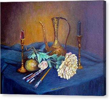 Still Life With Candlesticks And Brass Canvas Print by Stephen  Hanson