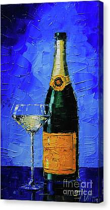 Glass Table Reflection Canvas Print - Still Life With Champagne Bottle And Glass by Mona Edulesco