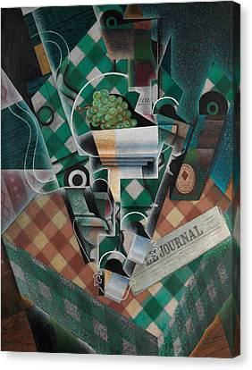 Still Life With Checked Tablecloth Canvas Print by Juan Gris