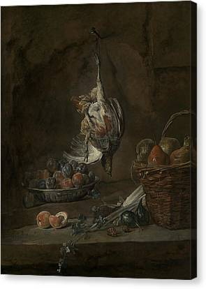 Still Life With Dead Pheasant Canvas Print by Jean-Baptiste-Simeon Chardin