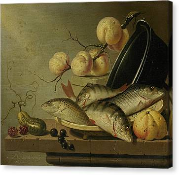 Still Life With Fish And Fruits Canvas Print