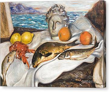 Still Life With Fish By Giorgio De Chirico Canvas Print by Roberto Morgenthaler