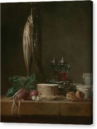 Still Life With Fish, Vegetables, Gougeres, Pots, And Cruets On A Table  Canvas Print
