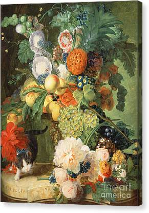 Still Life With Flowers And Cat Canvas Print by C Kuipers