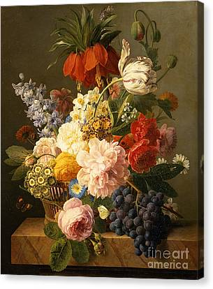 Still Life With Flowers And Fruit Canvas Print by Jan Frans van Dael