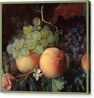 Still Life With Flowers And Fruit Canvas Print by Jan van