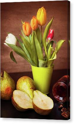 Still Life With Flowers And Fruit Canvas Print by Oliver Leicher