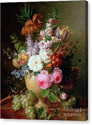 Still Life With Flowers And Grapes Canvas Print