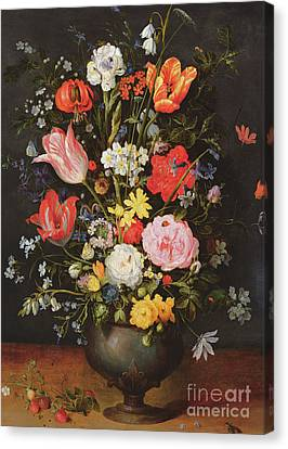 Still Life With Flowers And Strawberries Canvas Print by Jan the Younger Brueghel