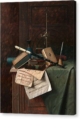 Still Life With Flute Vase And Roman Lamp Canvas Print by Mountain Dreams