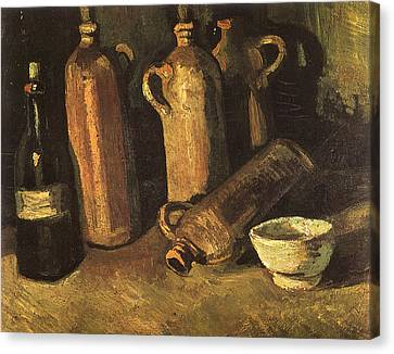 Still Life With Four Stone Bottles, Flask And White Cup, 1884 Canvas Print by Vincent Van Gogh