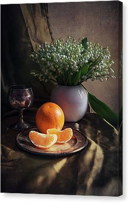 Still Life With Fresh Flowers And Tangerines Canvas Print by Jaroslaw Blaminsky