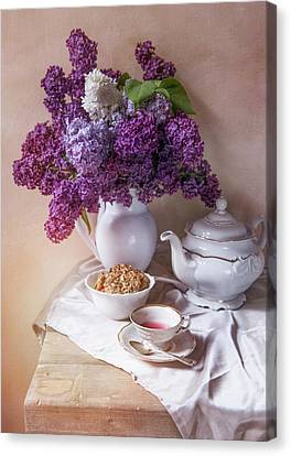 Canvas Print featuring the photograph Still Life With Fresh Lilac And China Pots by Jaroslaw Blaminsky