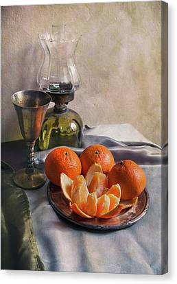 Still Life With Fresh Tangerines And Oil Lamp Canvas Print