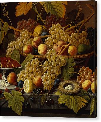 Still Life With Fruit, 1854 Canvas Print by Severin Roesen