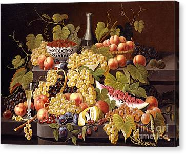 Still Life With Fruit And Champagne Canvas Print by Severin Roesen