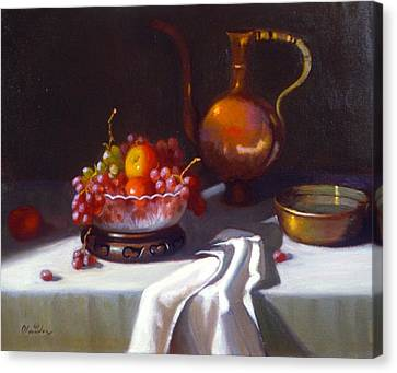 Still Life With Fruit And Cut Glass Bowl Canvas Print by David Olander