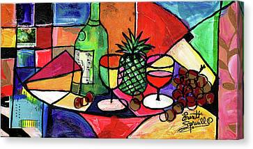 Still Life With Fruit And Wine #303 Canvas Print by Everett Spruill