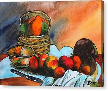 Still Life With Fruit Basket Canvas Print by Jutta Maria Pusl