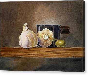 Still Life With Garlic And Olive Canvas Print by Irina Sztukowski