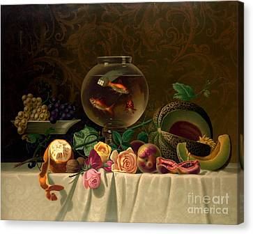 Still Life With Goldfish 1873 Canvas Print by Padre Art