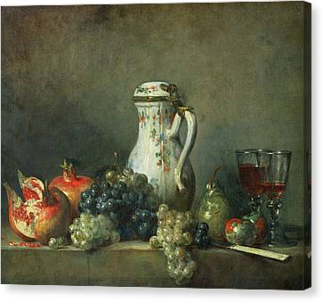 Purple Grapes Canvas Print - Still Life With Grapes And Pomegranates by Jean-Baptiste Simeon Chardin