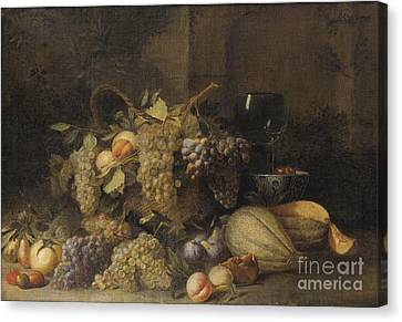 Still Life Of Wine And Grapes Canvas Print - Still Life With Grapes Basket by Celestial Images