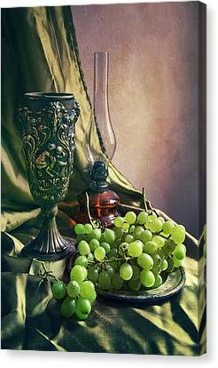 Still Life With Green Grapes Canvas Print by Jaroslaw Blaminsky