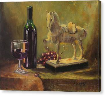 Wine-bottle Canvas Print - Still Life With Horse by Laura Lee Zanghetti