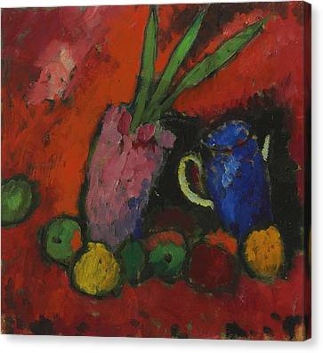 Still Life With Hyacinth, Blue Pitcher And Apples Canvas Print by Alexej von Jawlensky