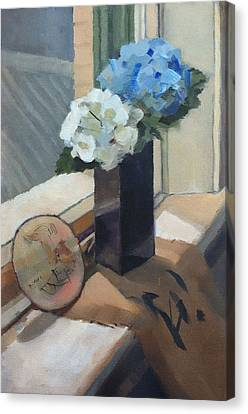 Still Life With Hydrangeas Canvas Print by Roz McQuillan