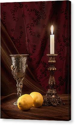 Candle Lit Canvas Print - Still Life With Lemons by Tom Mc Nemar
