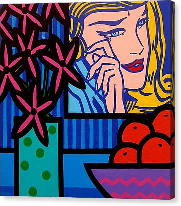 Still Life With Lichtensteins Crying Girl Canvas Print by John  Nolan
