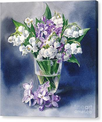 Still Life With Lilacs And Lilies Of The Valley Canvas Print by Sergey Lukashin