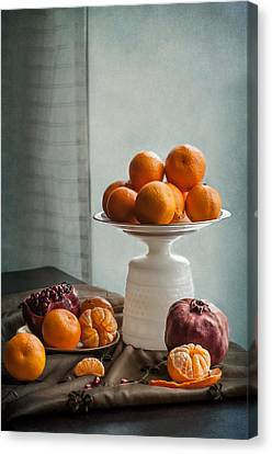 Still Life With Mandarins And Pomegranates Canvas Print by Maggie Terlecki