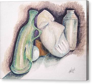 Canvas Print featuring the drawing Still Life With Mask by Keith A Link