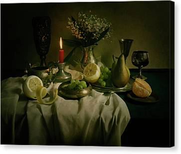 Still Life With Metal Pots And Fruits Canvas Print