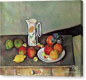 Lemons Canvas Print - Still Life With Milkjug And Fruit by Paul Cezanne