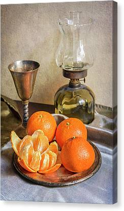 Still Life With Oil Lamp And Fresh Tangerines Canvas Print by Jaroslaw Blaminsky