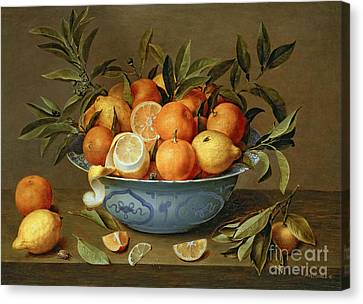 Still Lives Canvas Print - Still Life With Oranges And Lemons In A Wan-li Porcelain Dish  by Jacob van Hulsdonck