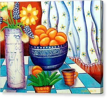 Still Life With Painted Vase Canvas Print by Jennifer England