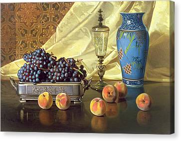 Peach Canvas Print - Still Life With Peaches by Edward Chalmers Leavitt