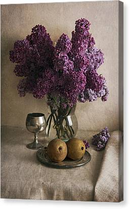 Canvas Print featuring the photograph Still Life With Pears And Fresh Lilac by Jaroslaw Blaminsky