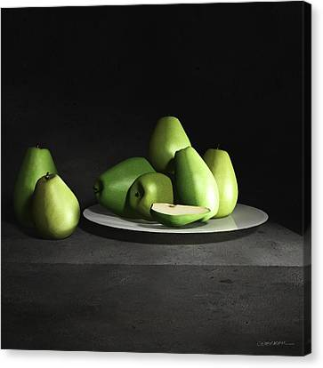 Still Life With Pears Canvas Print by Cynthia Decker