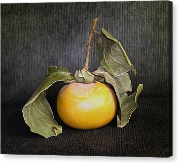 Canvas Print featuring the photograph Still Life With Persimmon by Viktor Savchenko