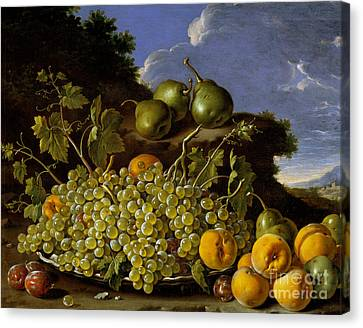 Still Life With Plate Of Grapes, Peaches, Pears And Plums In A Landscape Canvas Print