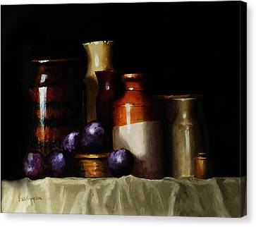 Still Life With Plums Canvas Print by Barry Williamson