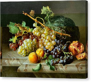 Still Life With Pomegranate Grapes And Melon Canvas Print